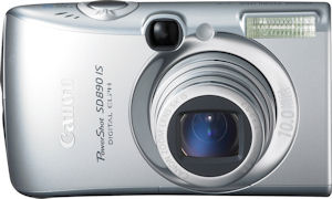 Canon's PowerShot SD890 IS Digital ELPH. Courtesy of Canon, with modifications by Michael R. Tomkins. Click for a bigger picture!