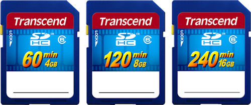 Transcend's SDHC HD Video cards in 4GB, 8GB and 16GB capacities.. Rendering provided by Transcend Information Inc. Click for a bigger picture!