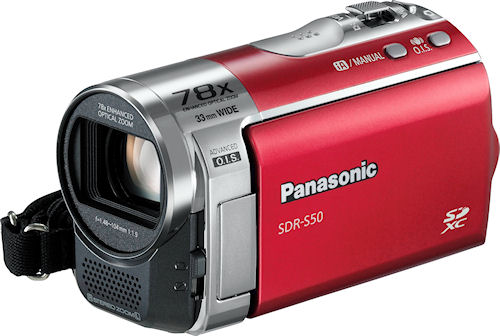 Panasonic's SDR-S50 digital camcorder. Photo provided by Panasonic Consumer Electronics Co. Click for a bigger picture!