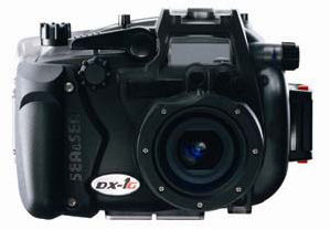 Sea&Sea's DX-1G digital camera. Courtesy of Sea&Sea, with modifications by Michael R. Tomkins. Click for a bigger picture!