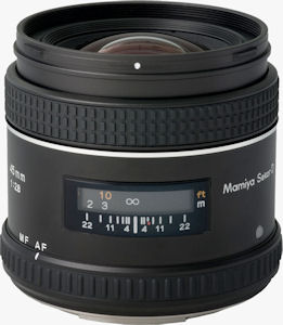 Mamiya's Sekor AF 45mm f/2.8D lens. Courtesy of Mamiya, with modifications by Michael R. Tomkins. Click for a bigger picture!