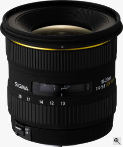 Sigma's 10-20mm F4-5.6 EX DC lens. Courtesy of Sigma, with modifications by Michael R. Tomkins. Click for a bigger picture!