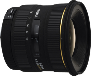 Sigma's 10-20mm F4-5.6 EX DC HSM zoom lens. Courtesy of Sigma, with modifications by Michael R. Tomkins. Click for a bigger picture!