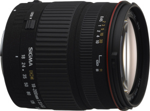 Sigma's 18-200mm F3.5-6.3 DC zoom lens. Courtesy of Sigma, with modifications by Michael R. Tomkins. Click for a bigger picture!