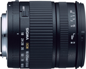 Sigma's 18-125mm F3.5-5.6 EX DC lens. Courtesy of Sigma, with modifications by Michael R. Tomkins. Click for a bigger picture!