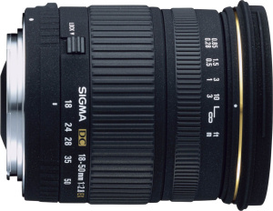 Sigma's 18-50mm F2.8 EX DC lens. Courtesy of Sigma, with modifications by Michael R. Tomkins. Click for a bigger picture!