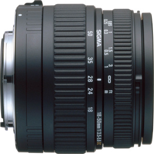 Sigma's 18-50mm F3.5-5.6  DC lens. Courtesy of Sigma, with modifications by Michael R. Tomkins. Click for a bigger picture!
