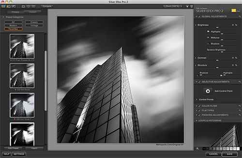 Nik Software's Silver Efex Pro 2 in use. Screenshot provided by Nik Software Inc. Click for a bigger picture!