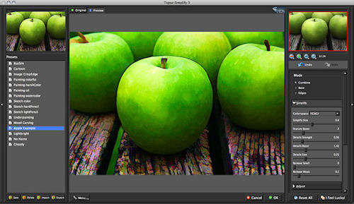 Topaz Simplify v3.0's new user interface. Screenshot provided by Topaz Labs LLC. Click for a bigger picture!