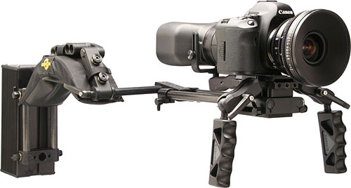 Cinevate's Simplis DSLR Rig with Canon DSLR attached. Photo provided by Cinevate Inc. Click for a bigger picture!