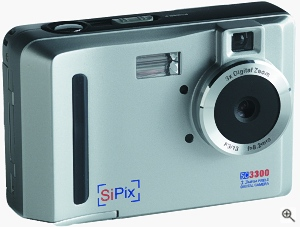 SiPix's SC3300 digital camera. Courtesy of SiPix, with modifications by Michael R. Tomkins. Click for a bigger picture!