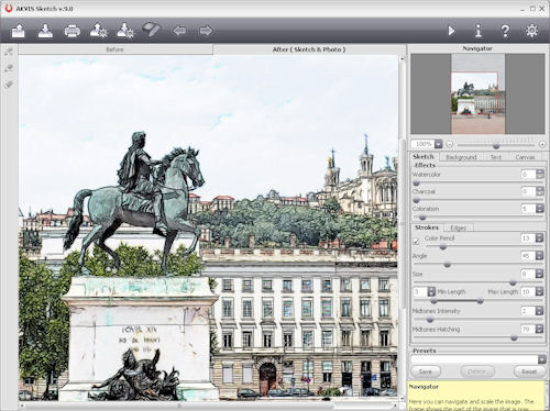 AKVIS Sketch 9.0 in use. Screenshot provided by AKVIS Software Inc. Click for a bigger picture!