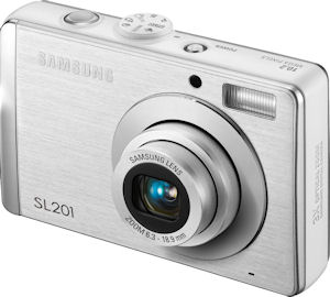 Samsung's SL201 digital camera. Courtesy of Samsung, with modifications by Michael R. Tomkins. Click for a bigger picture!