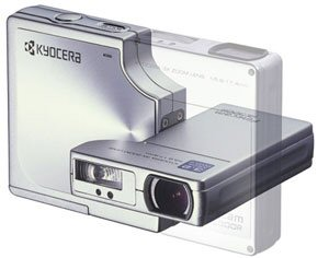 Kyocera's Finecam SL300R digital camera. Courtesy of Kyocera, with modifications by Michael R. Tomkins. Click for a bigger picture!