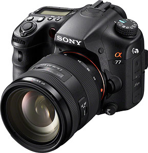 Sony's Alpha SLT-A77 Translucent Mirror camera. Image provided by Sony Electronics Inc. Click for a bigger picture!