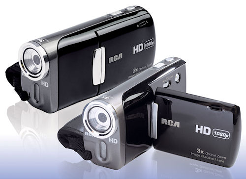 A pair of Audiovox's Small Wonder EZ5000 digital camcorders. Photo provided by Audiovox Corp. Click for a bigger picture!