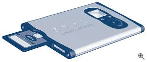 SMaL's Ultra-Pocket digital camera, oblique  view with MultiMediaCard inserted. Courtesy of SMaL - click for a bigger picture!
