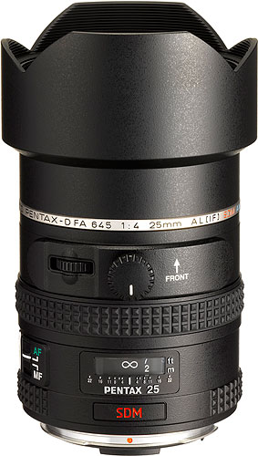 The smc PENTAX D FA 645 25mm F4 AL [IF] SDM AW lens. Photo provided by Pentax Imaging Co. Click for a bigger picture!