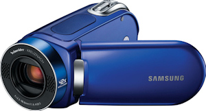 Samsung's SMX-F34 camcorder. Courtesy of Samsung, with modifications by Michael R. Tomkins. Click for a bigger picture!