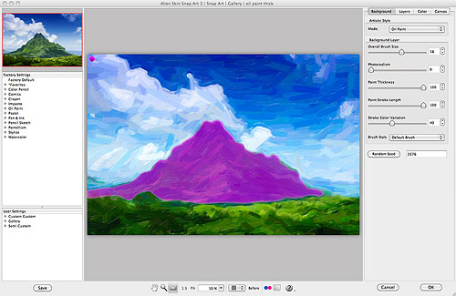 Snap Art 3's user interface, showing a masked-out (pink) area on the mountain where extra detail will be retained. Screenshot provided by Alien Skin Software LLC. Click for a bigger picture!