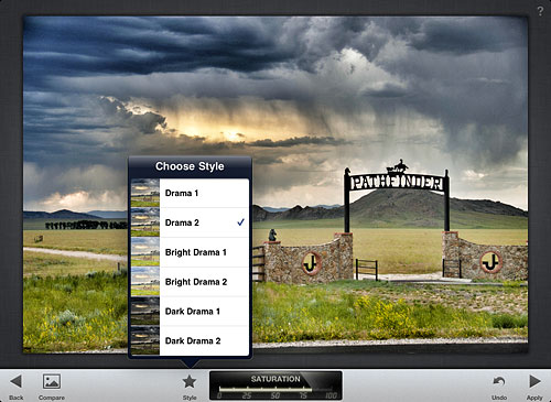 Choosing an image style in Snapseed. Screenshot provided by Nik Software Inc. Click for a bigger picture!