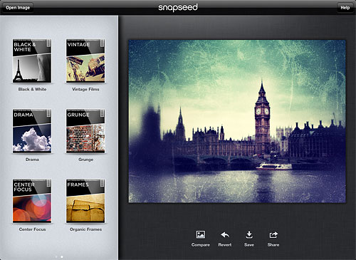 Browsing images in Snapseed. Screenshot provided by Nik Software Inc. Click for a bigger picture!