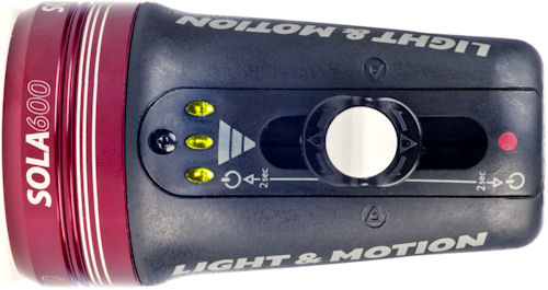 Top view of the Sola 600 compact imaging light. Photo provided by Light & Motion. Click for a bigger picture!