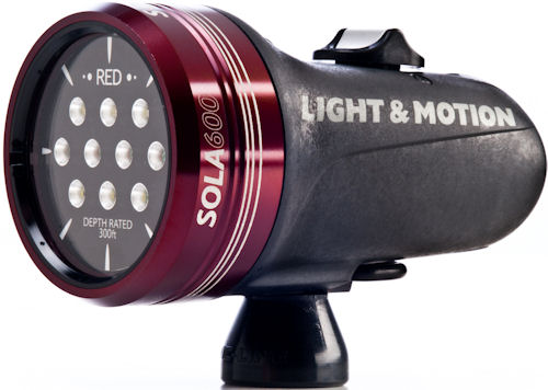 Front quarter view of the Sola 600 compact imaging light. Photo provided by Light & Motion. Click for a bigger picture!
