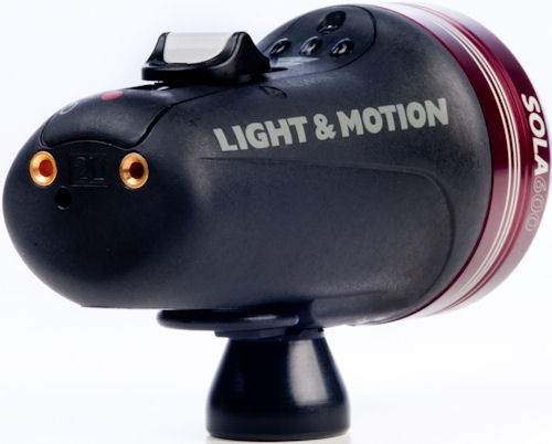 Rear quarter view of the Sola 600 compact imaging light. Photo provided by Light & Motion. Click for a bigger picture!
