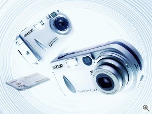 Sony's Cyber-shot DSC-P32 and DSC-P72 digital cameras. Courtesy of Sony, with modifications by Michael R. Tomkins. Click for a bigger picture!