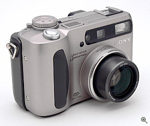 Sony's DSC-S75 digital camera, front right quarter view. Copyright (c) 2001, The Imaging Resource, all rights reserved. Click for a bigger picture!