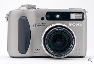 Sony's DSC-S75 digital camera, front view. Copyright (c) 2001, The Imaging Resource, all rights reserved. Click for a bigger picture!