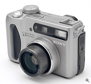 Sony's DSC-S75 digital camera, front left quarter view. Copyright (c) 2001, The Imaging Resource, all rights reserved. Click for a bigger picture!