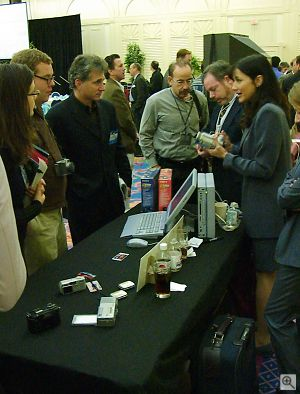 Sony's Cozette Phifer and Mark Weir demonstrate the company's products to a crowd of interested attendees at ImageScape. Copyright © 2001, Michael R. Tomkins. All rights reserved. Click for a bigger picture!
