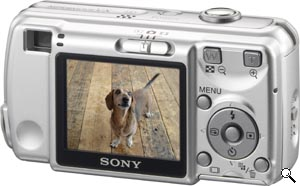 Sony's Cyber-shot DSC-S600 digital camera. Courtesy of Sony, with modifications by Michael R. Tomkins. Click for a bigger picture!