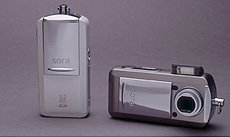 Toshiba's PDR-T30 digital camera. Courtesy of Toshiba Japan, with modifications by Michael R. Tomkins.