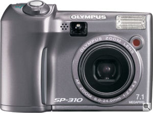 Olympus' SP-310 digital camera. Courtesy of Olympus, with modifications by Michael R. Tomkins. Click for a bigger picture!