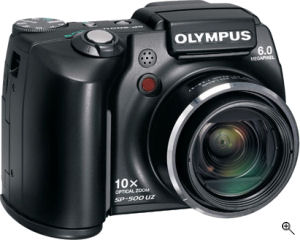 Olympus' SP-500 UltraZoom digital camera. Courtesy of Olympus, with modifications by Michael R. Tomkins. Click for a bigger picture!