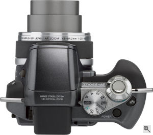 Olympus' SP-550 UltraZoom digital camera. Courtesy of Olympus, with modifications by Michael R. Tomkins. Click for a bigger picture!