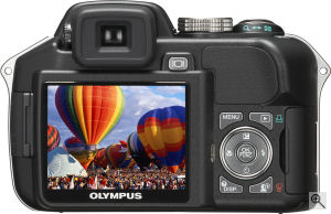 Olympus' SP-560 Ultra Zoom digital camera. Courtesy of Olympus, with modifications by Michael R. Tomkins. Click for a bigger picture!