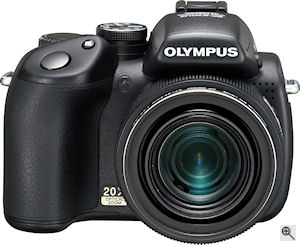 Olympus' SP-570UZ digital camera. Courtesy of Olympus, with modifications by Michael R. Tomkins. Click for a bigger picture!