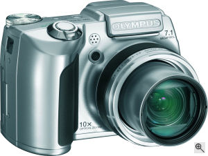 Olympus' SP-510 UltraZoom digital camera. Courtesy of Olympus, with modifications by Michael R. Tomkins. Click for a bigger picture!