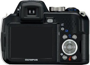 Olympus' SP-565 UltraZoom digital camera. Courtesy of Olympus, with modifications by Michael R. Tomkins. Click for a bigger picture!