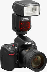 Nikon's Speedlight SB-900 flash strobe. Courtesy of Nikon, with modifications by Michael R. Tomkins. Click for a bigger picture!