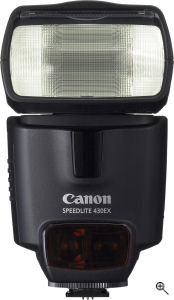 Canon's Speedlite 430EX flash strobe. Courtesy of Canon, with modifications by Michael R. Tomkins. Click for a bigger picture!