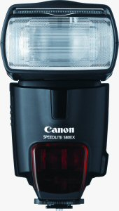 Canon's Speedlite 580EX flash. Courtesy of Canon, with modifications by Michael R. Tomkins. Click for a bigger picture!