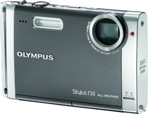 Olympus' Stylus 730 digital camera. Courtesy of Olympus, with modifications by Michael R. Tomkins. Click for a bigger picture!