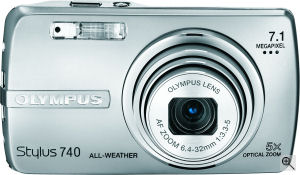 Olympus' Stylus 740 digital camera. Courtesy of Olympus, with modifications by Michael R. Tomkins. Click for a bigger picture!