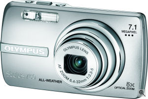 Olympus' Stylus 750 digital camera. Courtesy of Olympus, with modifications by Michael R. Tomkins. Click for a bigger picture!