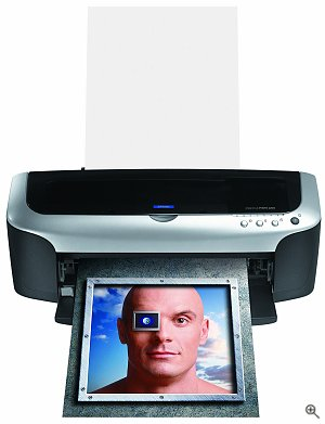 Epson's Stylus Photo 2200 photo printer. Courtesy of Epson, with modifications by Michael R. Tomkins. Click for a bigger picture!
